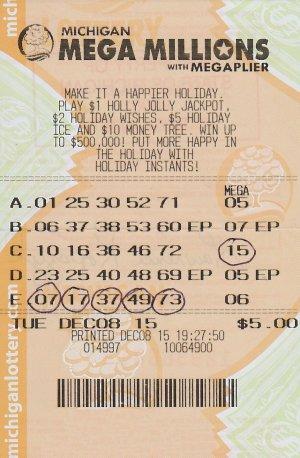 Lawrence Kopczyk's winning Mega Millions ticket.