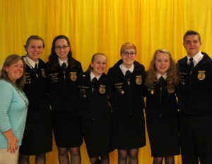 Jessica Couch poses with the 2014-2015 Hopkins FFA Chapter Officer Team.