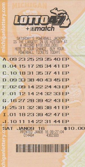 01.21.16 Lotto47 $4,159,836 Draw 01.09.16 Anonymous Mason Co.