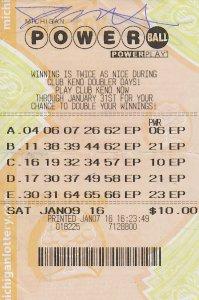 01.21.16 Powerball 01.09.16 Draw $1 Million Jeff Sheathelm Livingston County