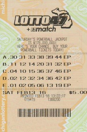 02.18.16 Lotto 47 02.13.16 Draw $1,402,240 Anonymous Wayne Co.