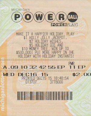 Daniel Chase's winning Powerball ticket.