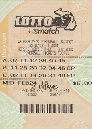 Joseph Durcan's winning Lotto 47 ticket.