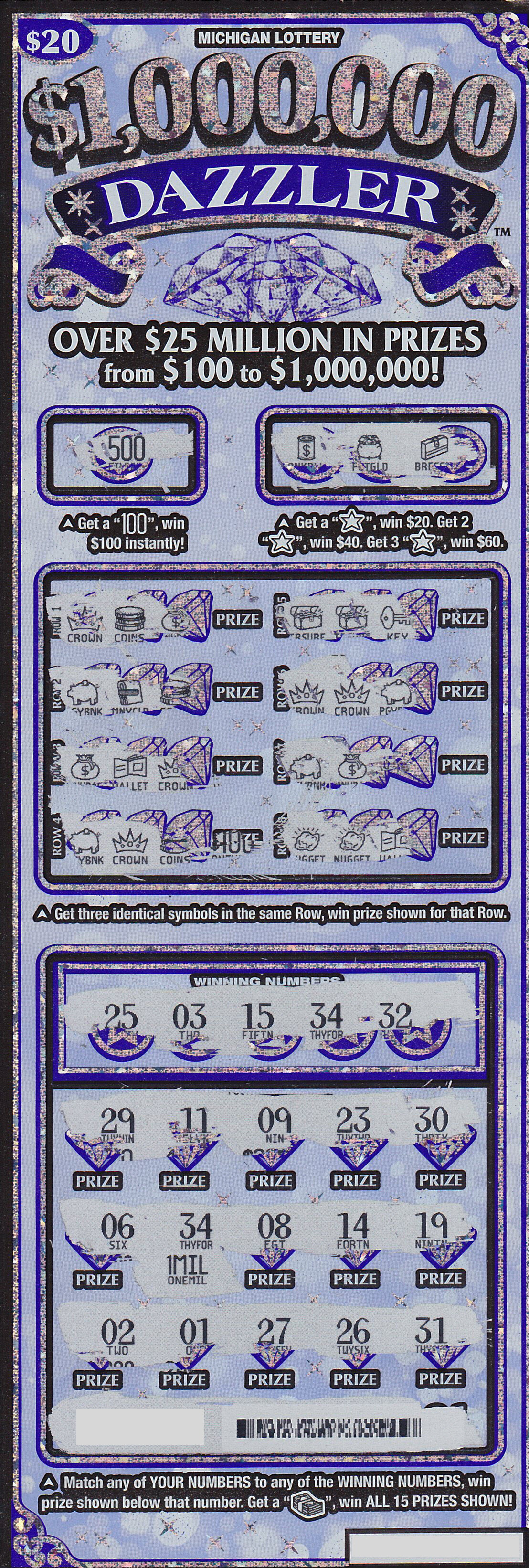 Macomb County Man Wins $1 Million Playing $1,000,000 Dazzler Instant