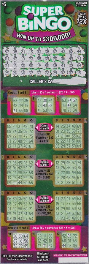 Cathy Lemon's winning Super Bingo ticket.
