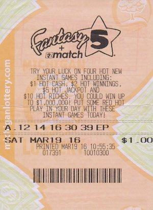 Mitch Gillons' jackpot winning Fantasy 5 ticket,