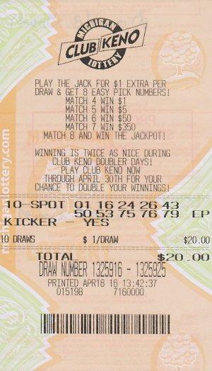 04.22.16 Club Keno $200,000 Draw 04.18.16 Anonymous, Lenewee County