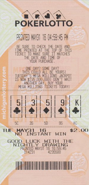 06.02.16 Poker Lotto $100,000 Draw 05.30.16 Anonymous Charlevoix County