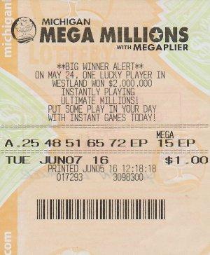 06.10.16 Mega Millions $1 Million Draw 06.07.16 Herman Lauer Mt. Pleasant