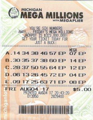 Kuharevicz's winning Mega Millions ticket.