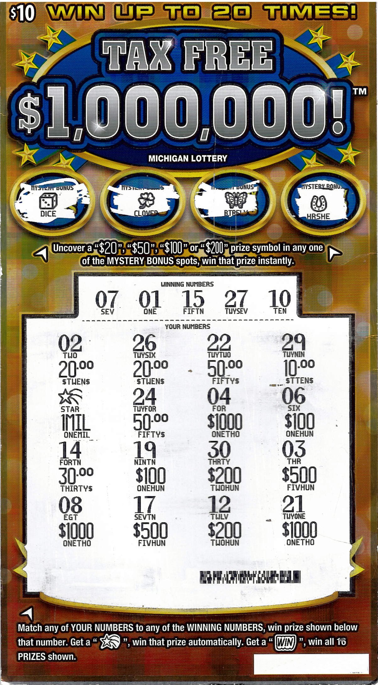Grand Rapids Woman Wins $1 Million Playing the Michigan Lottery's