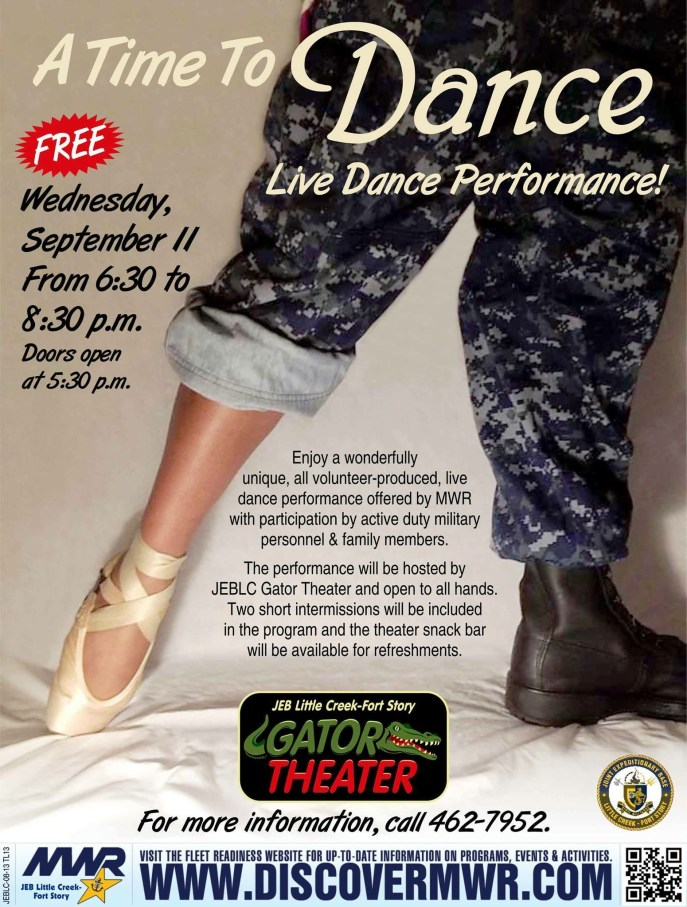 "Advertisement for our first ""A Time To Dance"" performance."