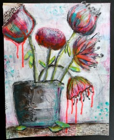 """""""dripping Flowers"""" Mixed Media"""