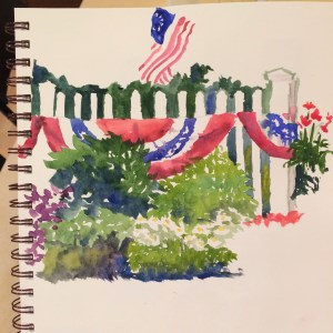 painting with picket fence draped with star spangled bunting