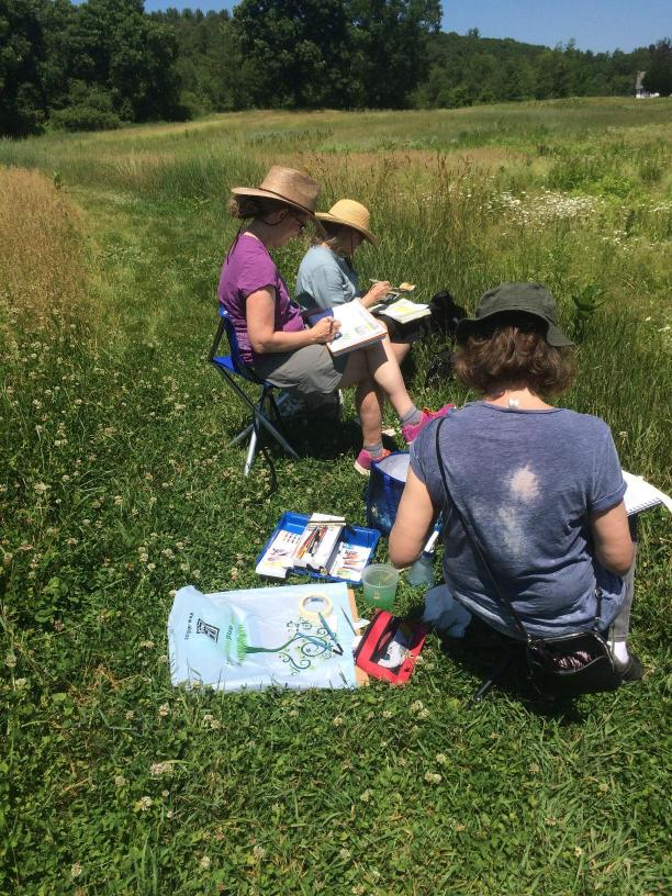 Roxanne and her students painting plein air