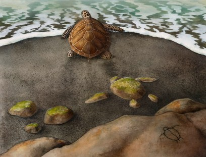Watercolor of 3 sea turtles headed out to sea