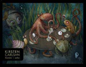 Watercolor and digital postcard of a children's book darktale of the octopus's garden