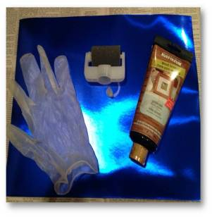 Rubber Glove, Spot Shot™ Precision Roller, Bottle of Wood Stain