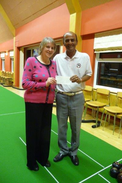 Manor Bowls Club cheque