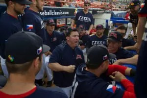 MEXICALI, MEXICO - MARCH 19: Coach Trot Nixon of Team Czech Republic gets the team fired up before the start of Game 5 of the World Baseball Classic Qualifier against Team Nicaragua at Estadio B-Air Stadium on Saturday, March 19, 2016 in Mexicali, Mexico. (Photo by Matt Brown/WBCI/MLB Photos via Getty Images) *** Local Caption *** Trot Nixon