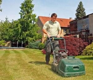 Vyhrabávání trávníku.