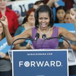 First Lady Michelle Obama led rally at Bradley Tech High School's gymnasium