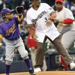 James Beckum threw the ceremonial first pitch at The Brewers' opening day game