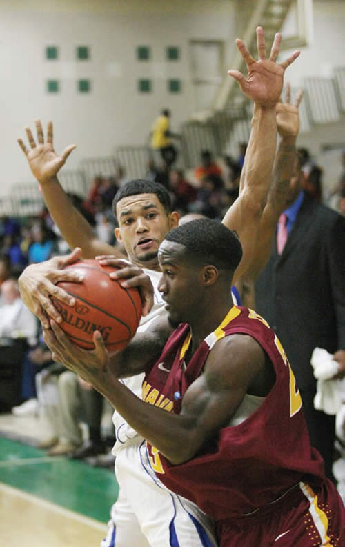 Central-State-University-Wilberforce-OH-basketball-guard-Masceo-Harmon-defended-by-Georgio-Alexander-2013-Fresh-Coast-Classic-Tournament