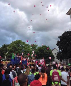 Photo from the vigil in memory of Sierra Guyton held at Clark Street School's playground
