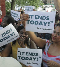 Protesters stand for the end of police brutality