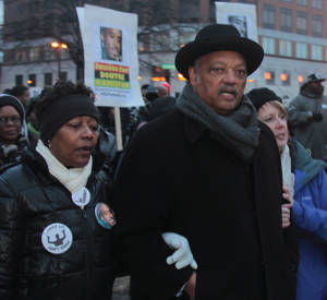 Rev. Jesse Jackson with protestors (Photos by Robert A. Bell)