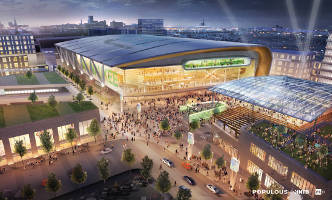 A rendering of the new arena, by Populous Architecture.