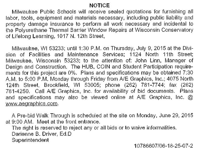 MPS-Requesting-Quotations-Polyurethane-Thermal-Barrier-Window-Repairs-Wisconsin-Conservatory-of-Lifelong-Learning
