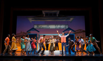 Reed L Shannon as Michael Jackson (center) with the Jackson 5 - Motown the Musical First National Tour (c) Joan Marcus, 2014