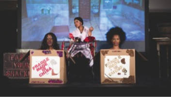 Lights! Camera! Soul! founder Ashley Jordan, center, performs beside two fellow club members in The Colored Museum.