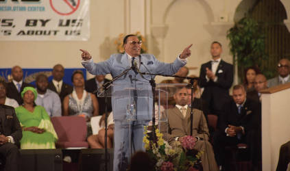 The Minister Louis Farrakhan spoke at Mercy Memorial Baptist Church on Thursday 8-13-2015 regarding the Million Man March to be held on 10-10-15 in Washington DC. The community and community leaders came out to listen to the speech. (Photos by Kim A. Robinson)