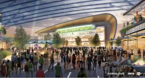 A rendering of the inside of the new Bucks arena. Photo by Populous Architecture.
