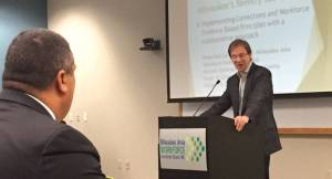 County Executive Chris Abele spoke during a Monday press conference, endorsing the soon-to-be American Job Center. Photo by Ariele Vaccaro.