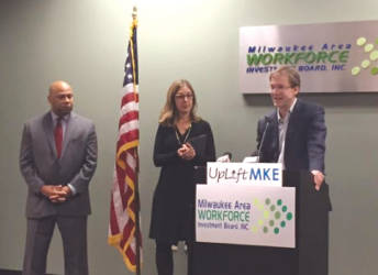 County Executive Chris Abele (far right) and MAWIB President Earl Buford (far left) announce the UpLift MKE program. Photo by Ariele Vaccaro.
