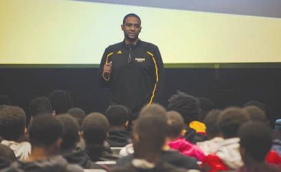 UWM Men's Basketball Coach Rob Jeter spoke to the young men at the 2014 Summit about athletics and academic success. Photo by Kenny Yoo.