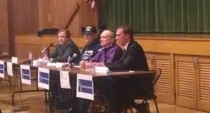 County Executive Chris Abele (left) sits with opponents Joseph Klein, Steve Hogan and Senator Chris Larsen. Photo by Mrinal Gokhale