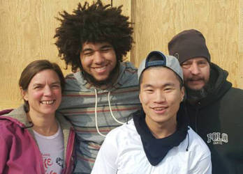 (Left to Right): Jennifer Voichick, Lab & Outreach Specialist, and students Marcus Patterson, Sai Thao, and Garett Anderson. Photo courtesy of Brianna Rae.