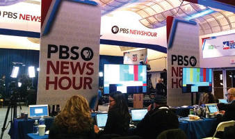 Spin room for journalists during debate. Photo by Mrinal Gokhale.