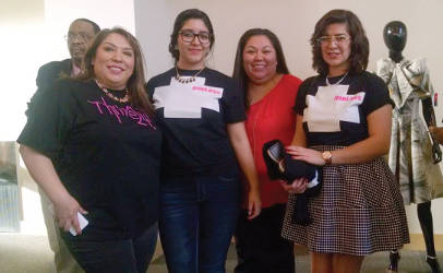 Crisela Zavala of Lulac Wisconsin Women's Council 330 poses with two LULAC Senoritas Council members who all modeled in the show