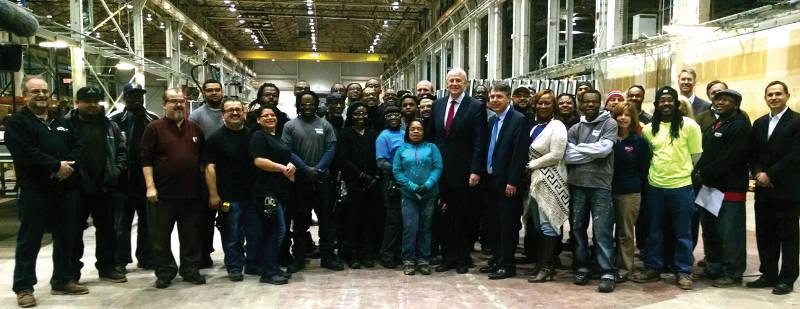 Mayor-Tom-Barrett-meets-Milwaukee-construction-contractors-assemble-Northwestern-Mutual-curtain wall-Century-City-warehouse