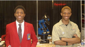Adrian Ellis (L) and Maurice Pulley (R) earned first place honors in the Robotics and Automation Technology competition at the Wisconsin SkillsUSA contest in April