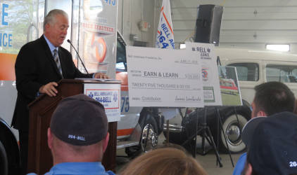 Jim Lombardo, co-owner of Bell Ambulance, commenting on the $25000 donation for Earn and Learn (Photo by Karen Stokes)