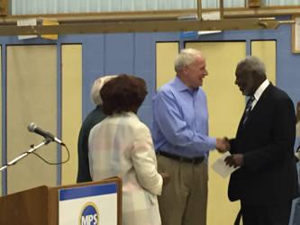 Former Mayor Marvin Pratt and current Mayor Tom Barrett before the renaming celebration. Photo by Dylan Deprey