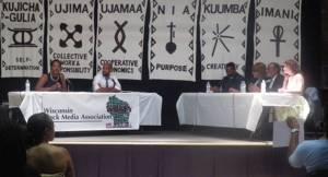 Senator Lena Taylor and Representative Mandela Barnes debating at the WBMA Forum. (photo by Karen Stokes)