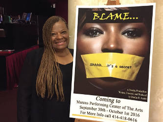 "Pastor Martha Austin is the writer, director and producer of the play, ""Blame."" (Photo by Dylan Deprey)"